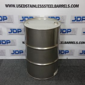 55 gal 304 USED stainless Closed Head Barrel (1.2/.9/1.2mm) #1