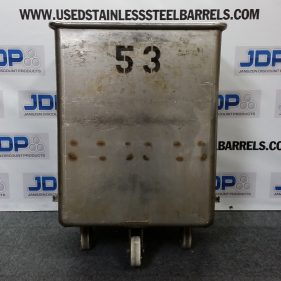 (1) 80 Gallon 316 USED SS Rolling Tote with Sanitary Construction
