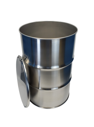 New 55 gallon open top stainless steel barrel
