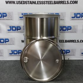 55 gal 304 NEW stainless Open Head Barrel 2″ and 3/4″ Bungs (1.0mm)