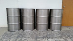 polished stainless steel drums