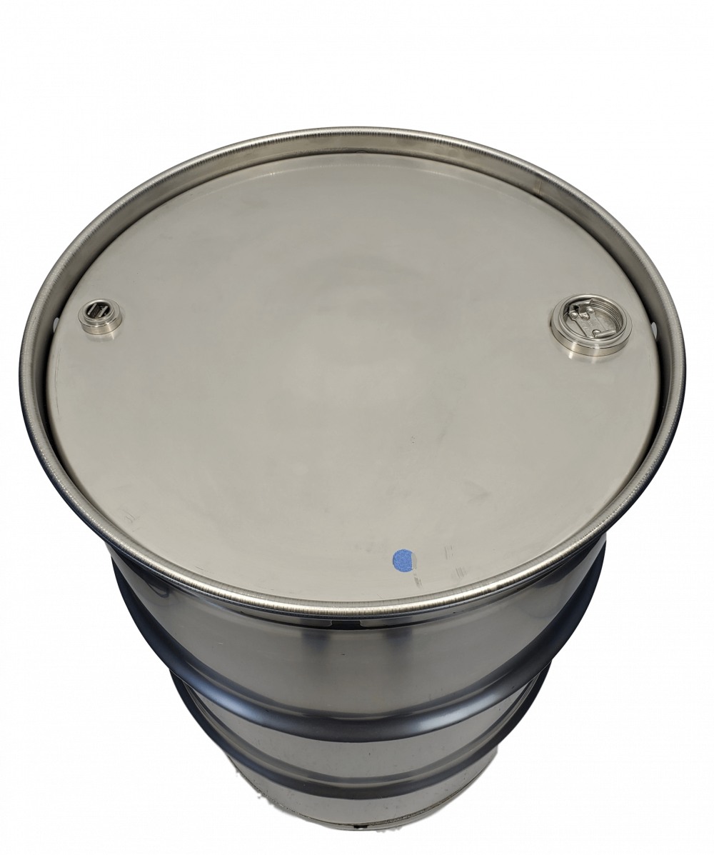 New 55 gallon closed top stainless steel barrel